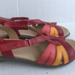 Hotter Flare made in England red pink sling sandal